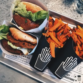 by CHLOE - guac burger & sweet potatoe fries